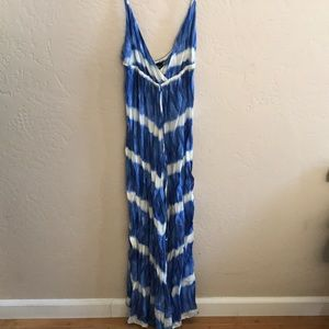 Blue and white ty die maxi dress